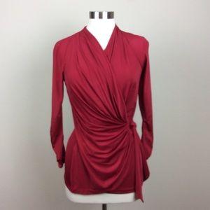 Vintage Cache red knit faux wrap blouse